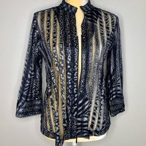 Travelers Collections Chicos Zebra Print Blouse S